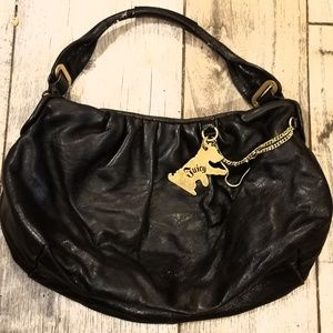 Juicy Couture black and gold leather handbag